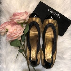 chanel escarpins two tone pumps